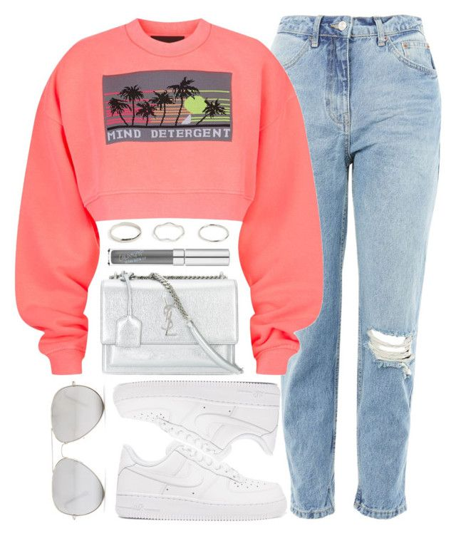 """""""Neon"""" by monmondefou ❤ liked on Polyvore featuring Yves Saint Laurent, Topshop, Alexander Wang, NIKE, Sunny Rebel, white and Pink"""