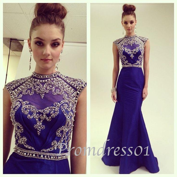 2015 elegant high neck royal blue vintage backless long prom dress for teens, evening dress, ball gown, bridal dress #promdress #wedding #coniefox