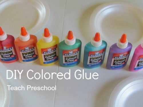 diy colored glue - just add food coloring to any white elmer's glue for tons of fun colorful art projects.