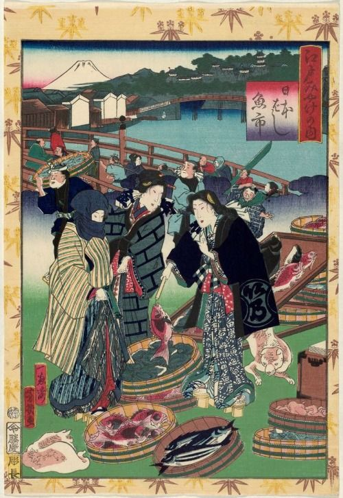 Fish Market at Nihonbashi (Nihonbashi uo-ichi), from the series Souvenirs of Edo (Edo miyage no uchi) / Yoshiiku 江戸みやげの内 日本ばし魚市 落合芳幾 1861年1月