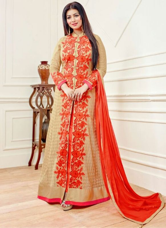 ayesha-takia-beige-and-orange-designer-floor-length-salwar-suit