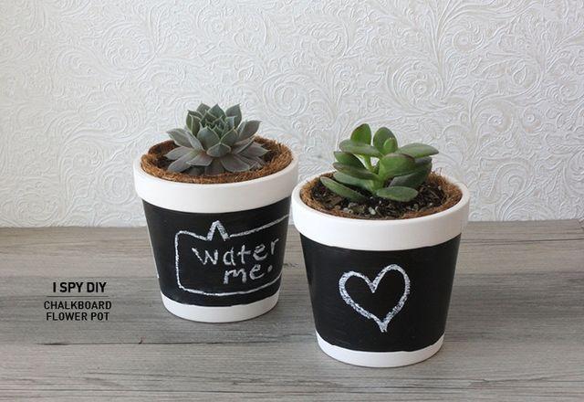 DIY chalkboard pot plants