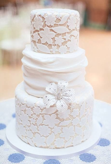 Laced wedding cake. In case you hadn't noticed, i'm one man who appreciates hot lace detailing on my bride's wedding dress. Why not get a cake to match? Cakes can be hot, too.