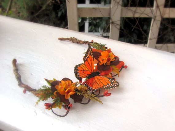Fall flower headband, monarch butterfly tiara, autumn woods bride, fall leaves, berry pips, orange and brown flowers, flower girl headband