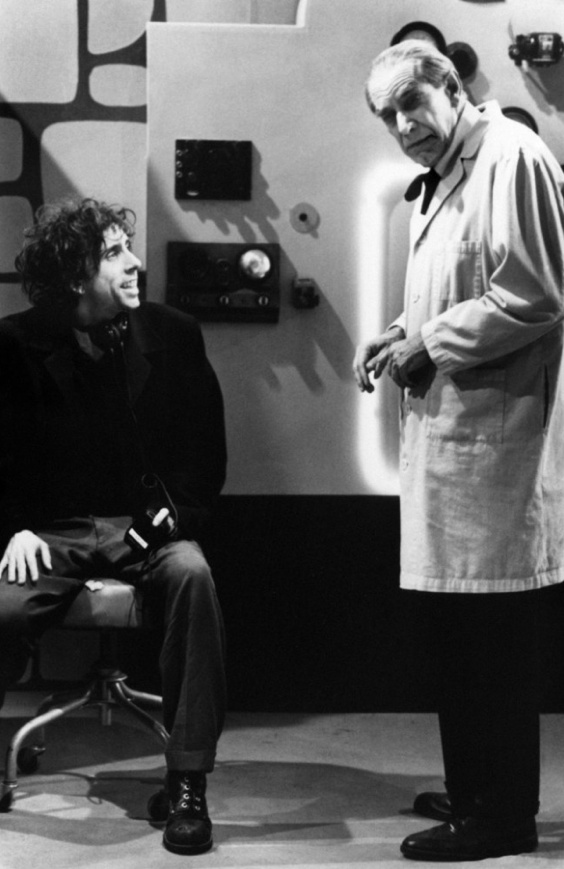 Tim Burton and Martin Landau on the set of 'Ed Wood' - love this film - Martin Landau is ruddy hilarious and thoroughly deserved that Oscar.