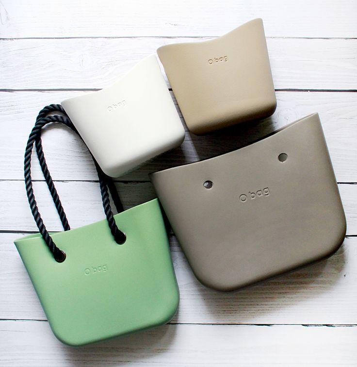 obag mini Sage Green, o bag standard rock fullspot, o bag szałwia mini i obag standard skalisty.  o basket piskowy i bialy  obasket white and sand