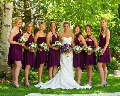 damas de honor vestido purpura