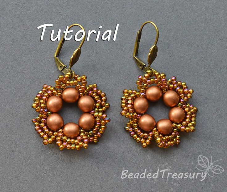 "Beaded Treasury:""Flower Tale"" earrings. Fast & Easy with just a few beads. #Seed #Bead #Tutorials"