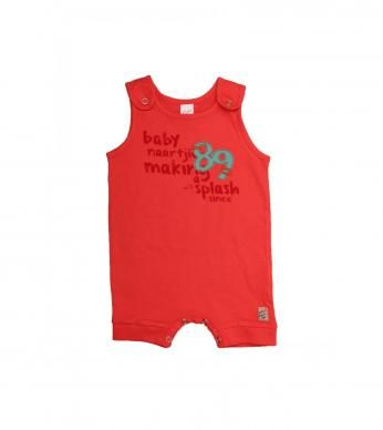 """A sleeveless romper for newborn boys, with fun """"Make a Splash"""" print and embroidery detail."""