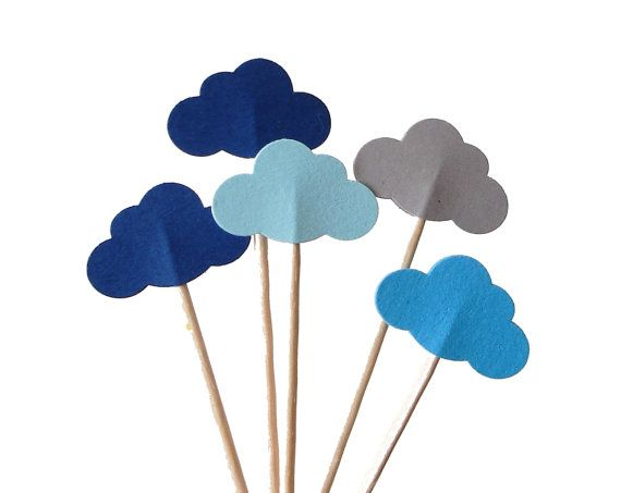 24 Mixed Blue Cloud Party Picks Cupcake Toppers Food by BelowBlink, $3.50