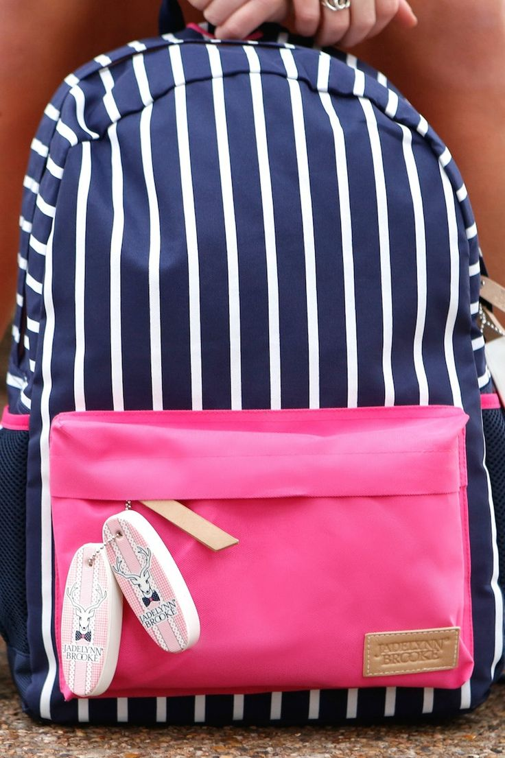 NEW! Get It Girl - Pink/Navy Stripe - JLB Backpack - This backpack is as light as can be in our lightweight, durable, and water-repellent printed polyester/ neoprene. Ideal for the preppy, happy scholar, it features a roomy interior with a zip-around opening. Plus zip pocket and two side mesh pockets outside.