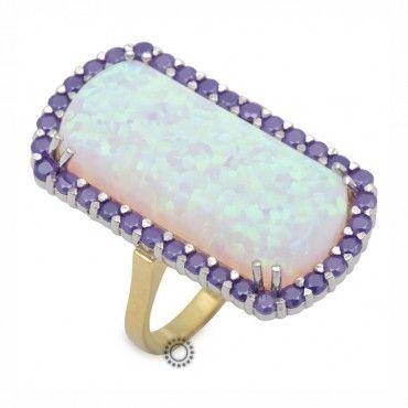 Μακρύ ορθογώνιο δαχτυλίδι από χρυσό Κ18 με ορυκτές πέτρες, εντυπωσιακό οπάλιο & περιμετρικούς μωβ τανζανίτες | Κοσμήματα ΤΣΑΛΔΑΡΗΣ στο Χαλάνδρι #οπαλιο #τανζανιτες #δαχτυλίδι #rings #jewelry