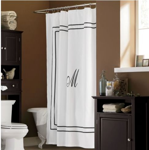 Another take on the monogram shower curtain for the home for 50 s bathroom decor