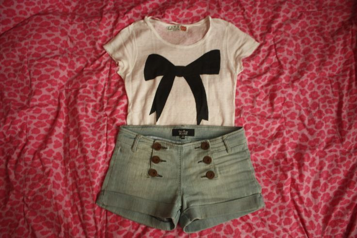 simple & nice: Short, Fashion, Clothing, Dream Closet, Clothes, Outfit, Styles, Bows, Shirt