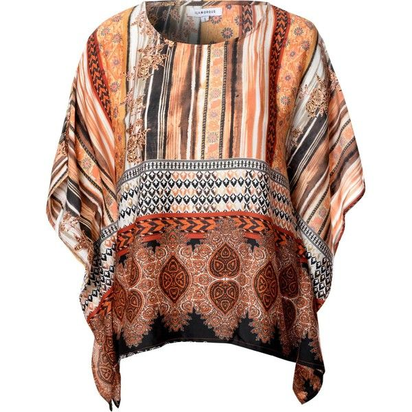 Copper Border Print Batwing T Shirt (£20) ❤ liked on Polyvore featuring tops, t-shirts, orange, orange t shirt, pattern shirts, batwing t shirt, slouchy shirt and oversized tee