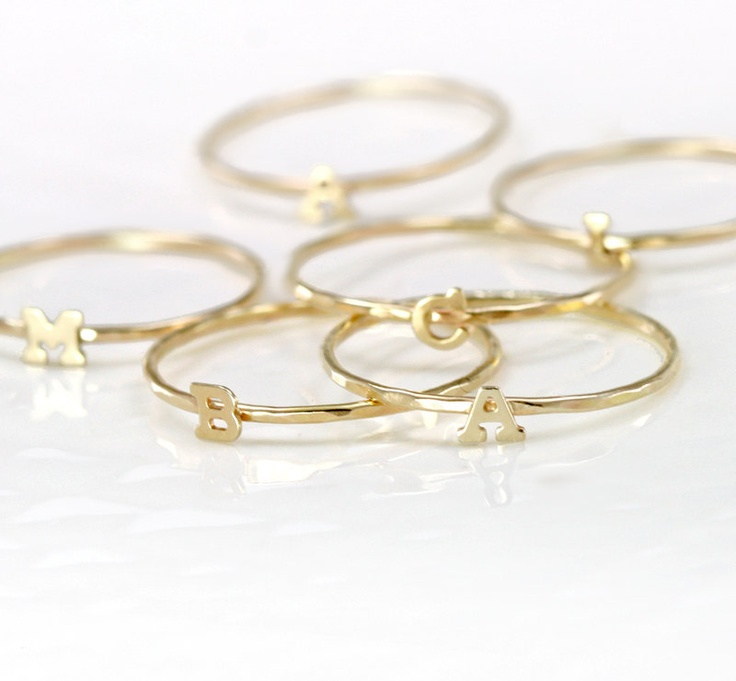 Initial Ring Gold, 14k Letter Ring, Alphabet Stacking Ring in 14k Gold, Gold Initial Jewelry. $118.00, via Etsy.