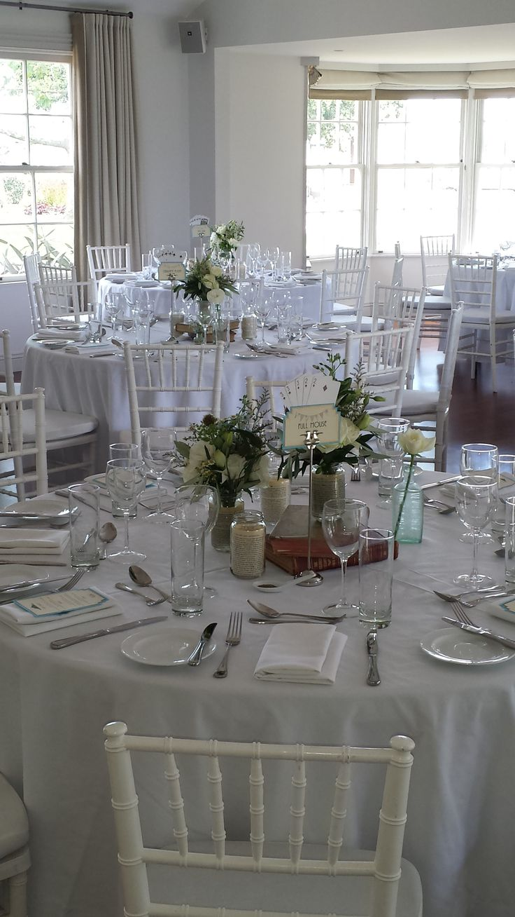 Long tables with banquet chairs