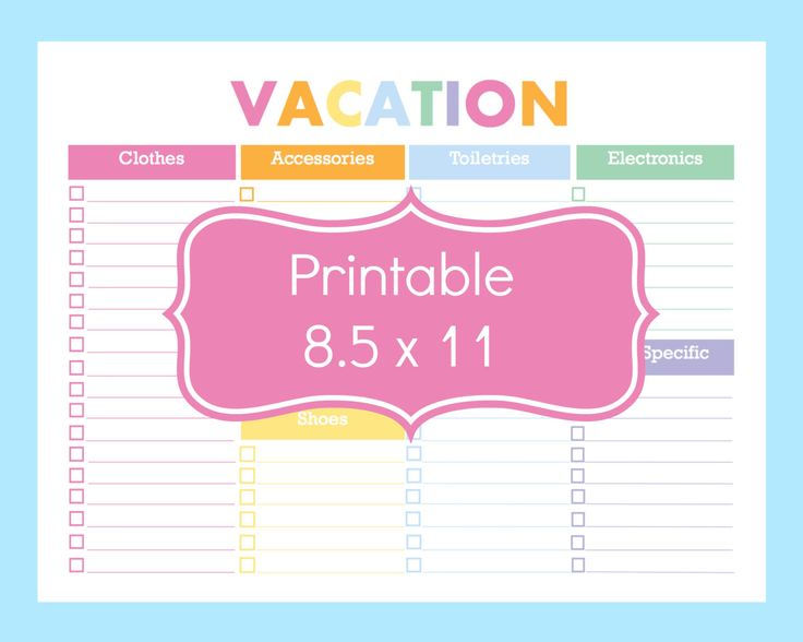 Vacation packing checklist printable radiotodorock maxwellsz