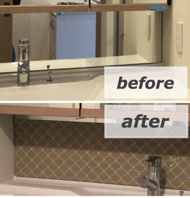 洗面所のチャイルドミラーを流行りのタイルシートでdiy タイルシート 洗面所 ミラータイル