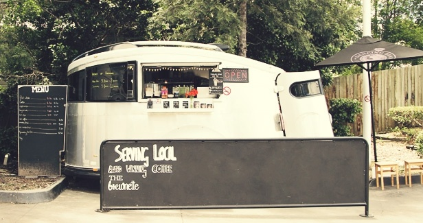 The Brewnette Coffee Van, Indooroopilly, is a refurbished campervan turned coffee-crafting machine, tucked into a corner of the Freedom Fuels station along Moggill Road.