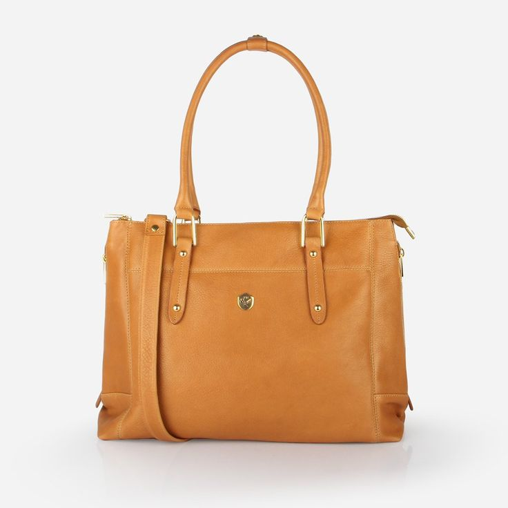 "The Perfect Handbag -  soft, textured caramel leather handbag that fits a 15"" laptop - Poppy Barley"