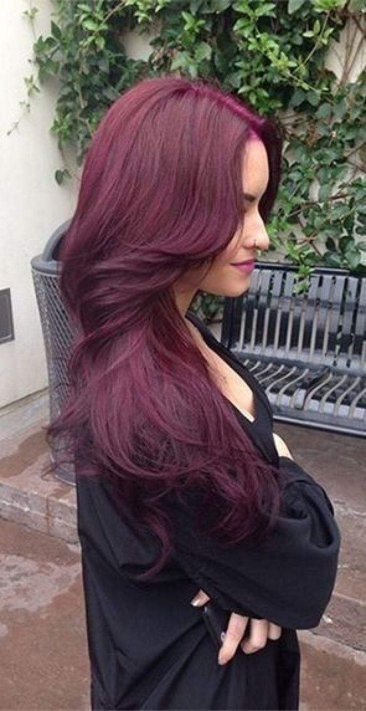 les 25 meilleures id es concernant cheveux violet fonc sur pinterest cheveux violet prune. Black Bedroom Furniture Sets. Home Design Ideas