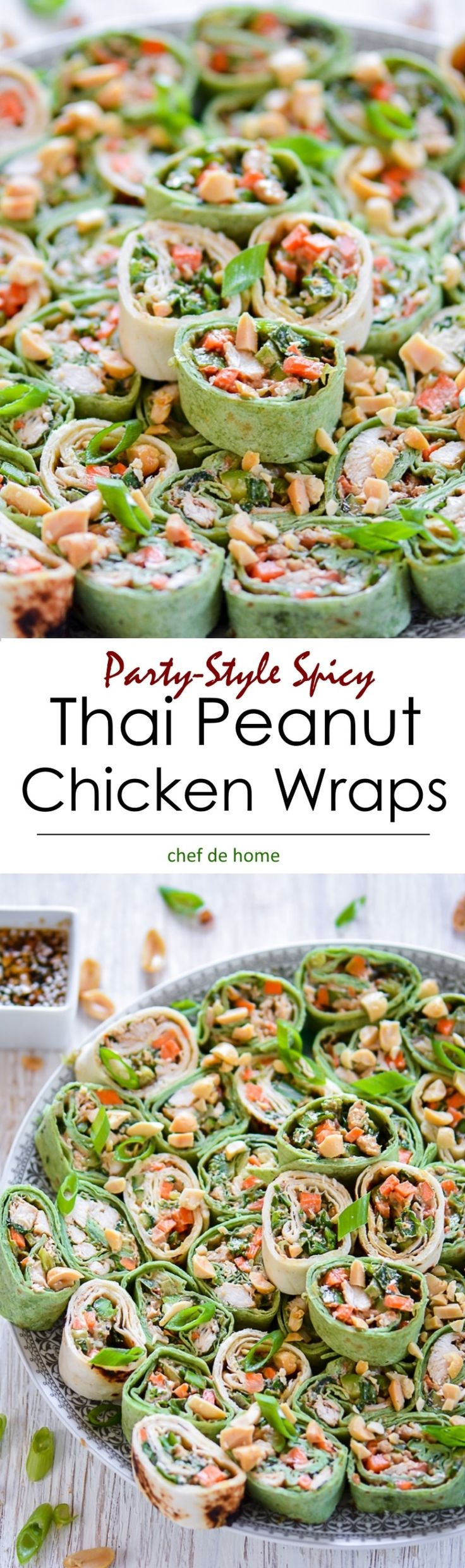Thai Peanut Chicken Wraps , a 25 minute recipe pack delicious chicken wraps for picnic or cut and serve pinwheel bites for #4thjuly party!