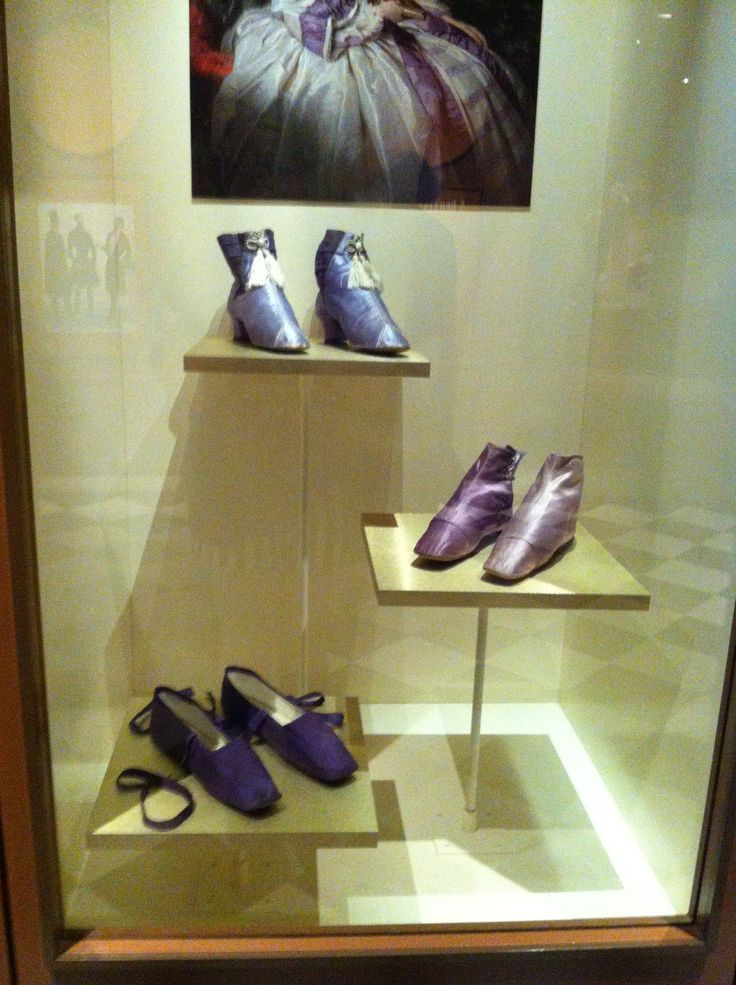 """""""Mad Mauve"""" Victorian shoes, dyes were made of harmful chemicals, wearers had negative health side effects. From the Bata Shoe Museum's """"Fashion Victims: The Pleasures and Perils of Dress in the 19th Century"""" exhibit."""