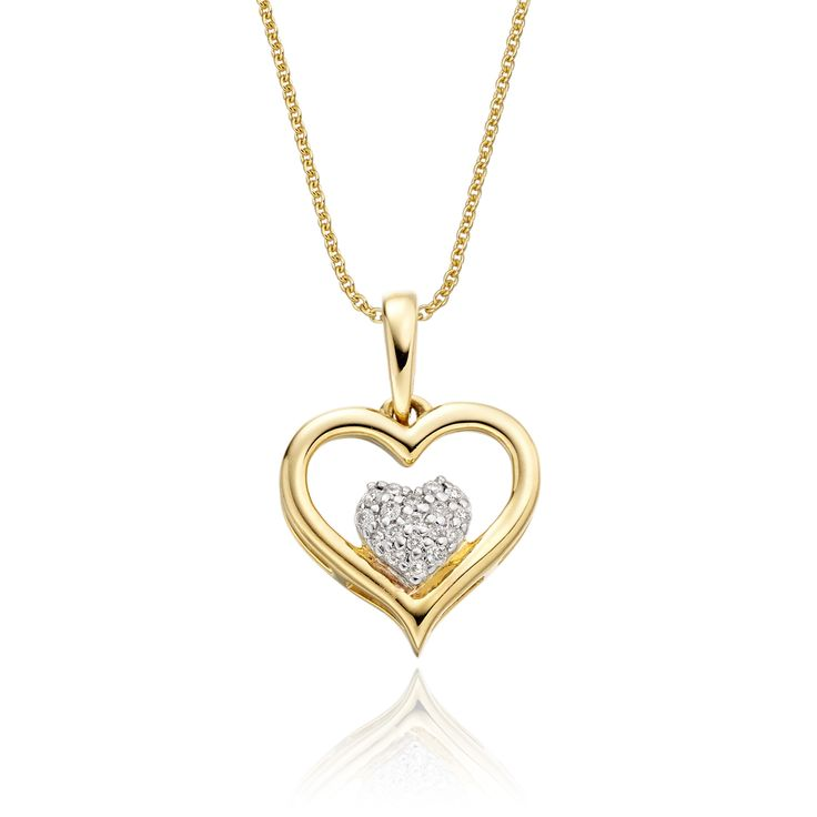 This elegant yellow gold cluster diamond pendant has 0.05ct diamonds. The pendant features a heart diamond cluster encompassed within a carved mirror finished gold heart. This necklace is made in 9K yellow gold and is available complete with a beautiful mirror trace chain or if you already have a chain then you have the option to buy just the pendant.