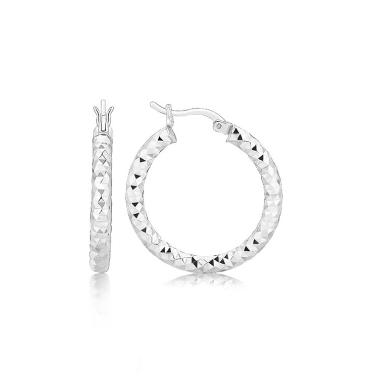 Sterling Silver Faceted Style Hoop Earrings with Rhodium Finishing