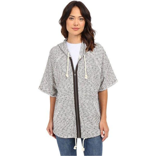Billabong Love Me Zip Up Hoodie (Black/White) Women's Sweatshirt ($30) ❤ liked on Polyvore featuring tops, hoodies, black, black and white zip up hoodie, short sleeve zip up hoodie, black and white tops, zip front hoodie and hooded zip up sweatshirt