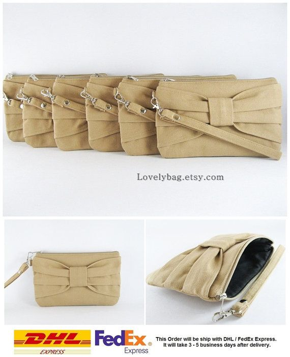 SUPER SALE  Set of 7 Tan Bow Clutches  Bridal by LovelyBag on Etsy
