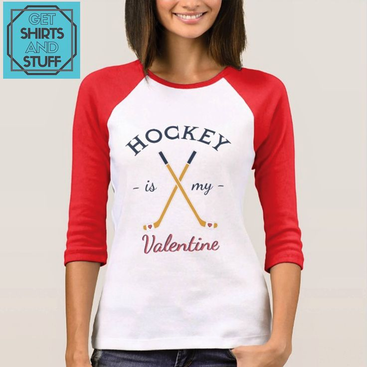 In Love with Hockey? Show who is your valentine with this design: https://www.zazzle.com/z/3trug  #Hockey #HockeyLove #HockeyGirl #Valentine #ValentinesDay #Girlfriend #GetShirtsAndStuff