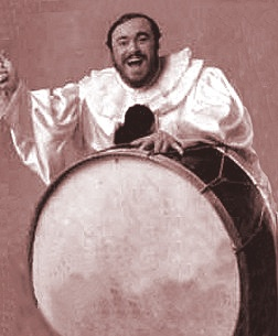 Luciano Pavarotti as Canio. Looks cheerful considering Canio's a murderous clown. Lol