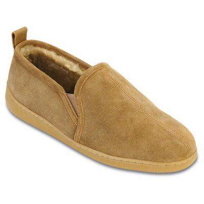 Minnetonka Mens Twin Gore Sheepskin Slippers, Men's, Size: 13W - 3731-TAN-WIDE-13