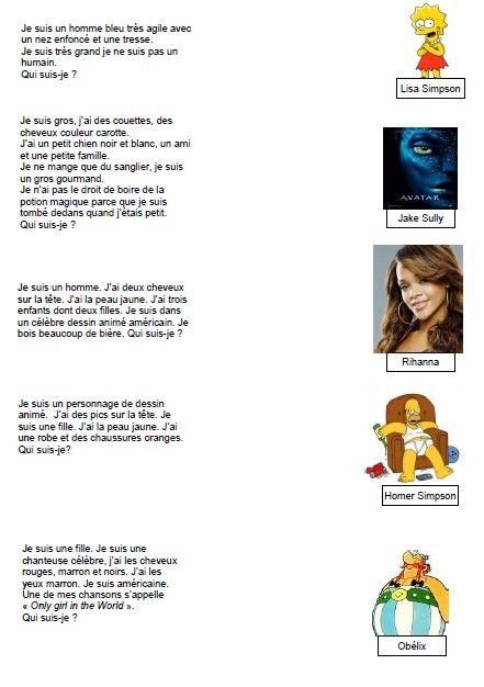 Sequence de redaction sur la description d'un personnage celebre ainsi que des productions d'élèves réalisés grâce au traitement de texte.