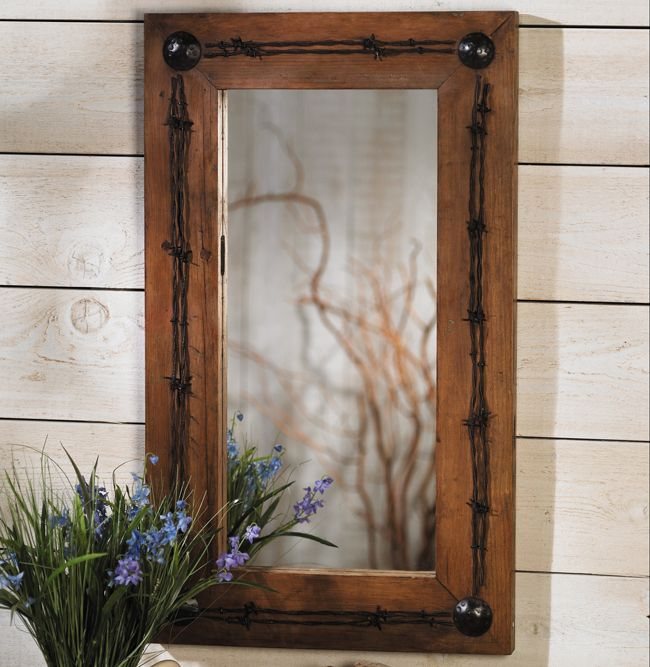 Old Ranch Barbed Wire Mirror. Western BathroomsRustic ...