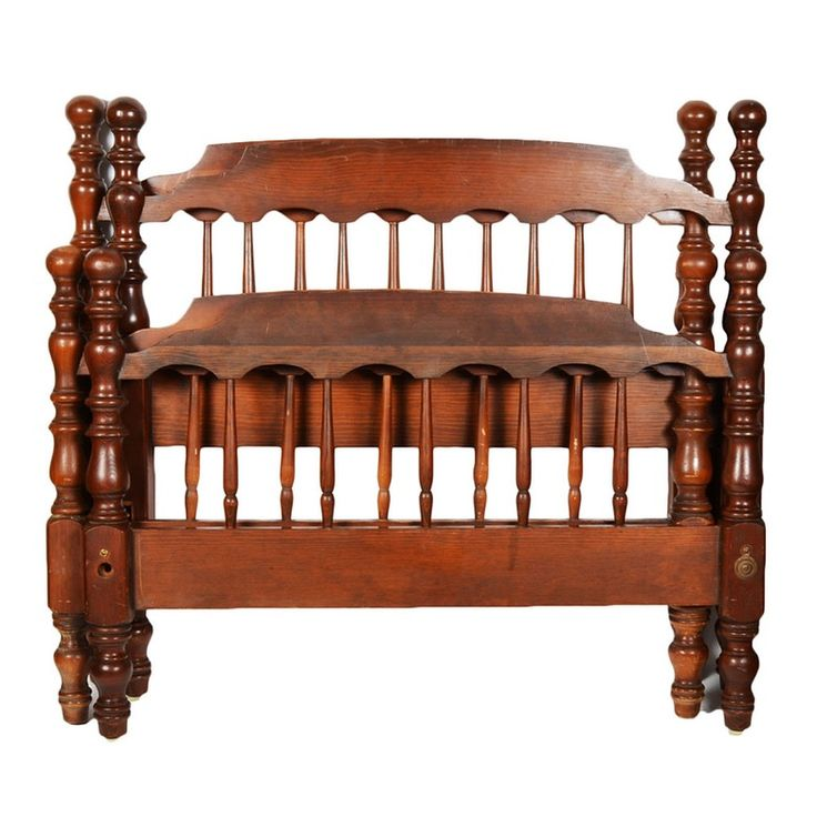 A pair of vintage cannonball style twin size bed frames. Each cherry-stained frame consists of a headboard and a foot board with spindled panels flanked by ball- and ring-turned posts. They both come with side rails.