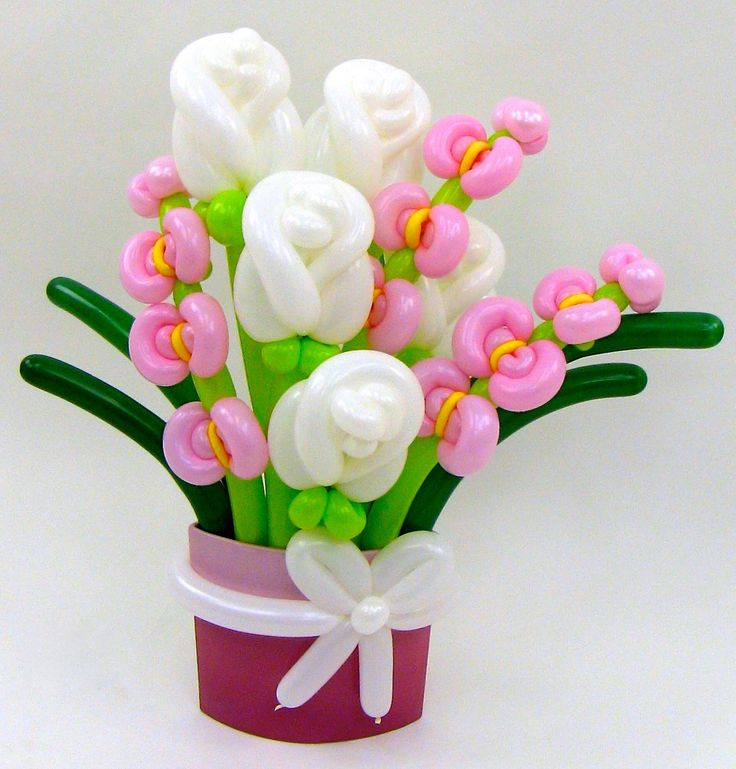 Balloon Animals Palm Beach White Rose and Orchid Balloon Bouquet Unique Gifts