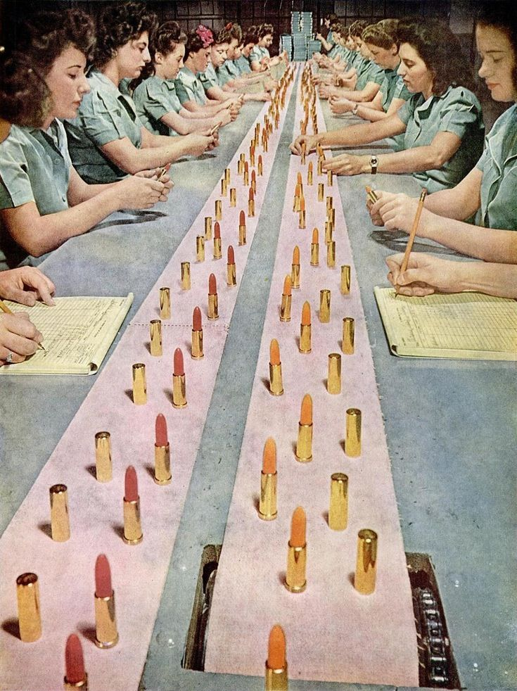 A crew of lipstick inspectors, 1940s.