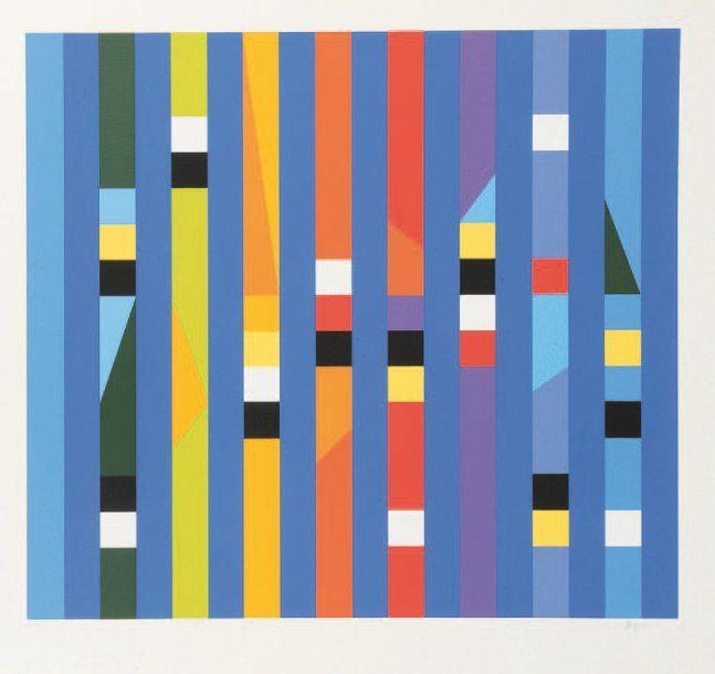Yaacov AGAM (né en 1928) Composition cinétique Sérigraphie en couleur.