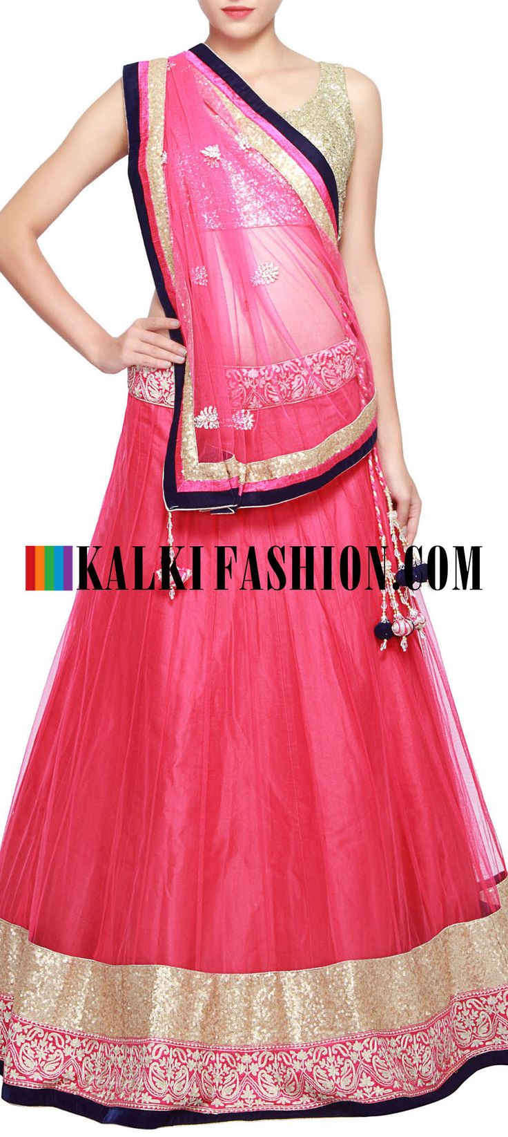 Get this beautiful lehenga here: http://www.kalkifashion.com/pink-lehenga-adorn-in-sequence-and-zari-embroidery-only-on-kalki.html Free shipping worldwide.
