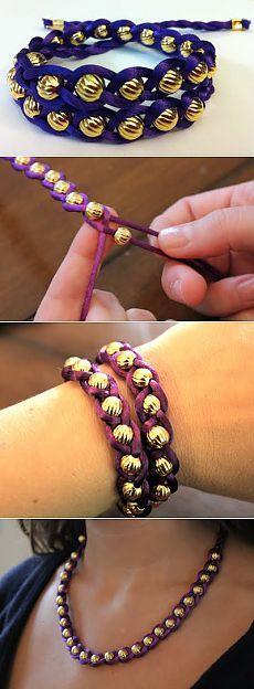 Плетем браслет-косичку из шнура и бусин. Быстро!.