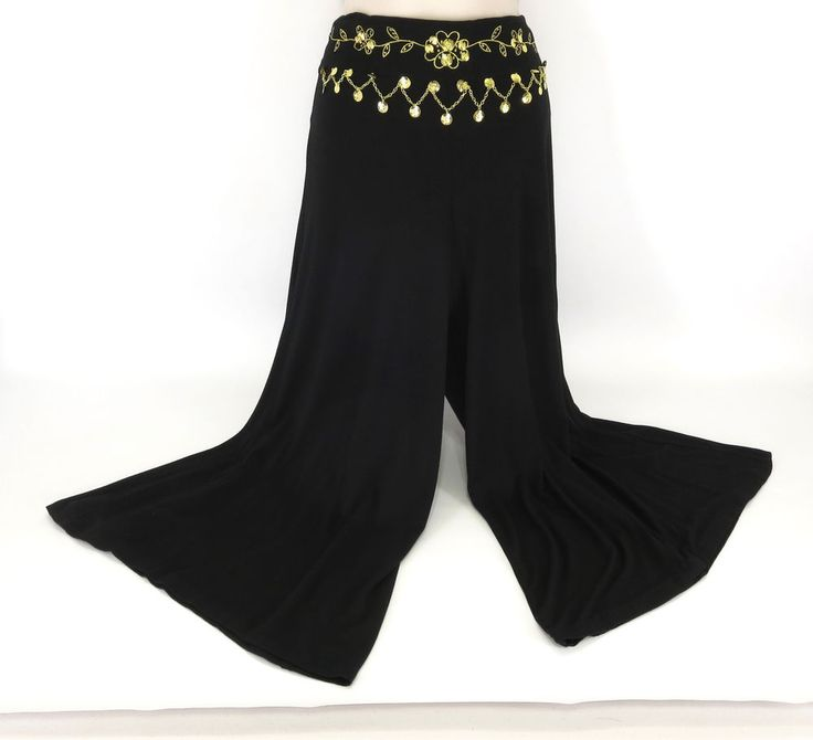 Victor Costa Occasion S Black Knit Stretch Coin Floral Embroidery Gaucho Pants #VictorCosta #CasualPants