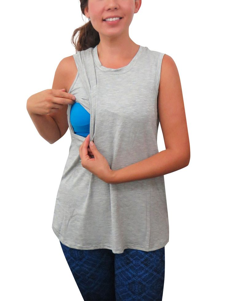 Bun Maternity's swing tank is flowy and has quick side nursing access. Practical useful features for moms to breastfeed easily and feel covered. A to E cup.
