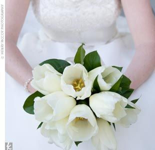 Although Linda's heart was originally set on stargazer lilies, her florist suggested ivory French tulips, which turned out to be a versatile choice. Linda and her bridesmaids carried simple, elegant bouquets of tulips, which were also used in the groomsme...