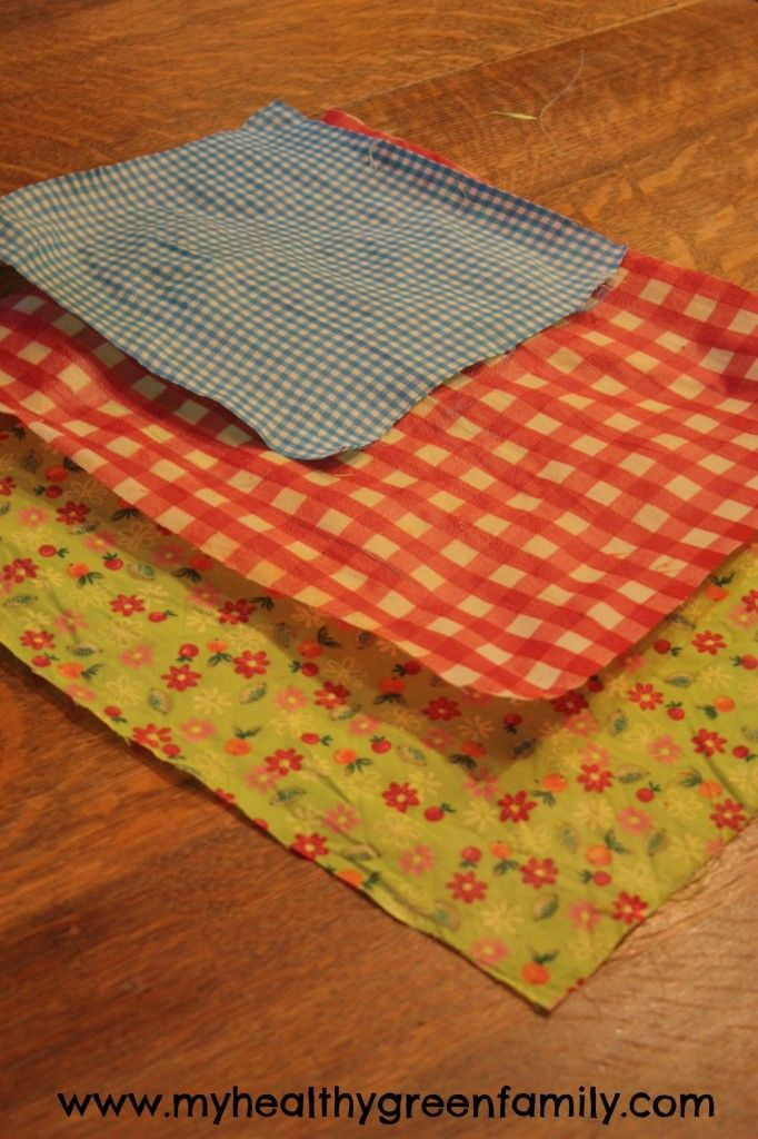homemade beeswax cotton sheets to use in place of plastic wrap in the kitchen