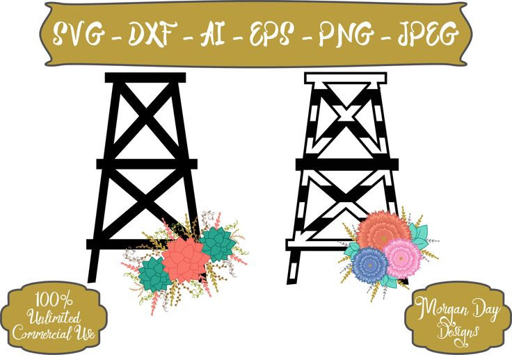 Oil Derrick SVG - Floral Oil Derrick SVG - Striped Black and White Oil Derrick svg - Files for Silhouette Studio/Cricut Design Space by MorganDayDesigns on Etsy
