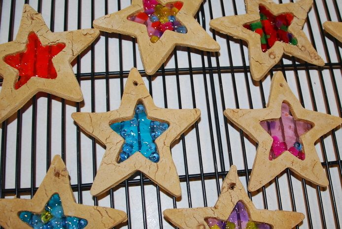 Make your own salt dough suncatchers - fun craft for kids and so pretty in the window!