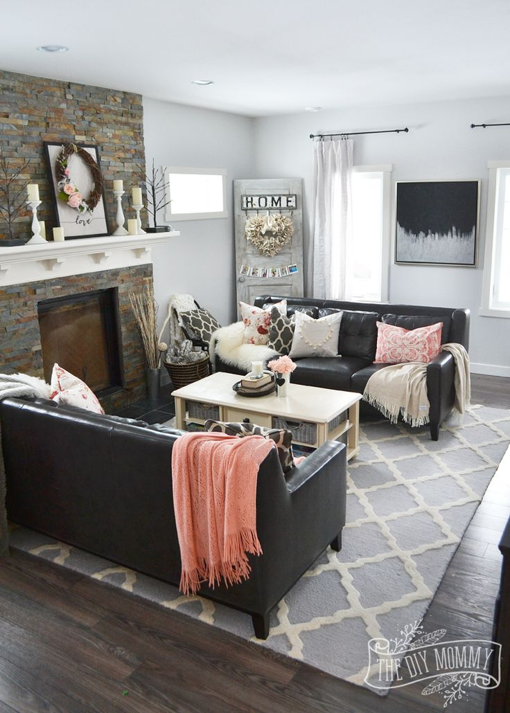 A Black   Blush Pink Living Room    DIY Pom Pom Heart Pillow  ValentinesDay. 25  best ideas about Black Sofa Decor on Pinterest   Black sofa